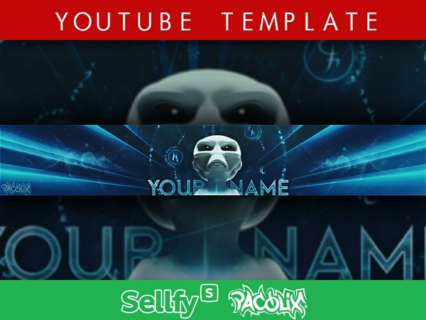 Alien YouTube Banner Template [Pacolix]