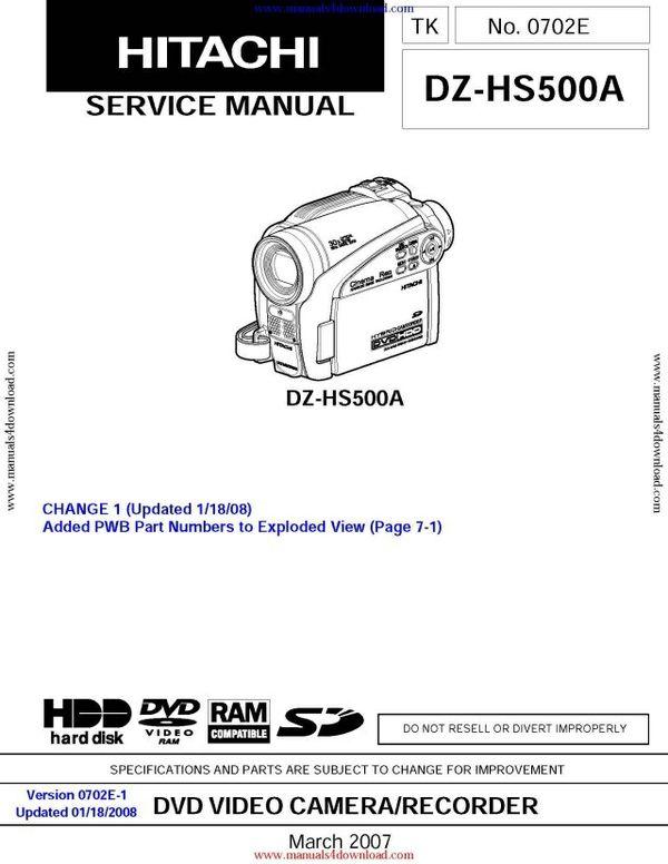 Hitachi DZHS500A Service Manual