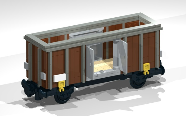 LEGO Building Instructions for a 4-Wheel Open Wagon (brown)
