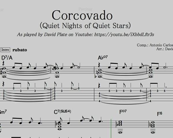 CORCOVADO (QUIET NIGHTS OF QUIET STARS) Guitar Arrangement by David Plate (SCORE + TABs)