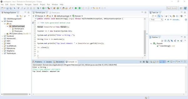 In a class called DomainParser, write a method getTLD