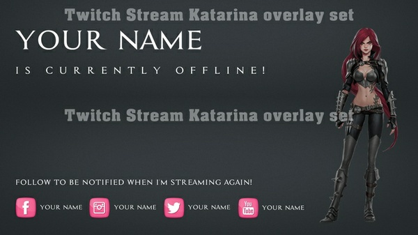 Twitch Stream Katarina overlay set