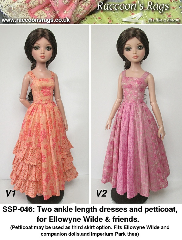 "SSP-045: 2 dresses and petticoats for Ellowyne Wilde 16"" fashion dolls."