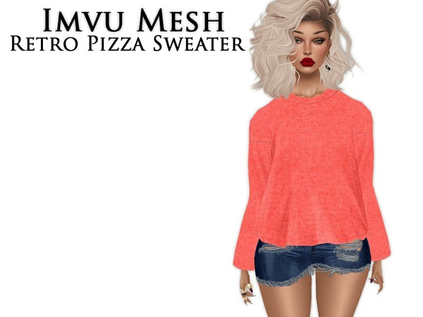 IMVU Mesh - Tops - Retro Pizza Sweater