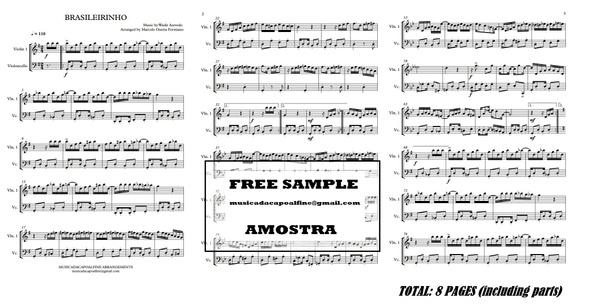 Brasileirinho - Waldir Azevedo - Violin and Celo - Score and parts Partitura