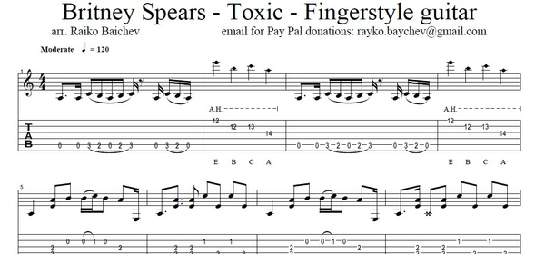 Britney Spears - Toxic - Fingerstyle guitar - Tabs