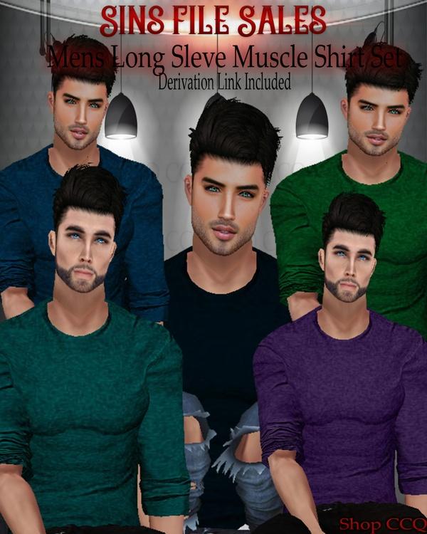 Long Sleeve Mens Muscle Shirt Set
