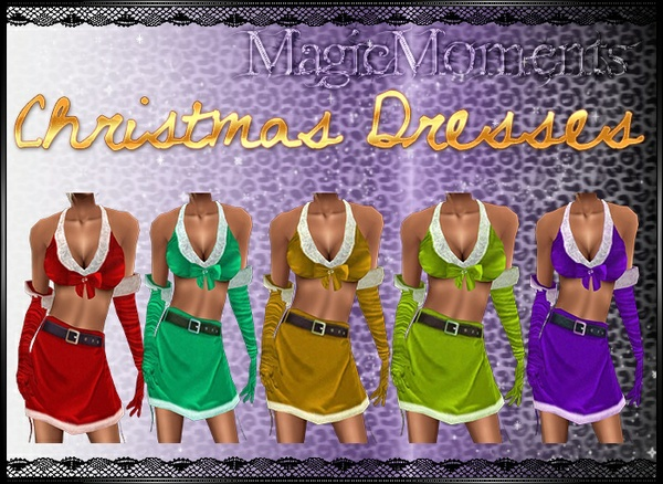 Christmas Dresses With Gloves Textures