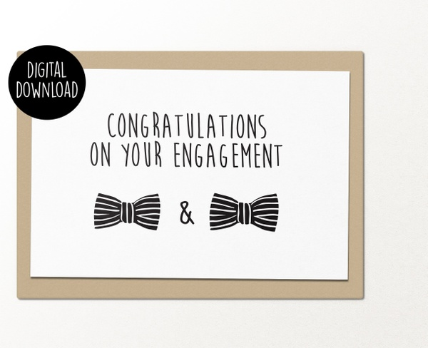 Congratulations on your gay engagement printable greeting card