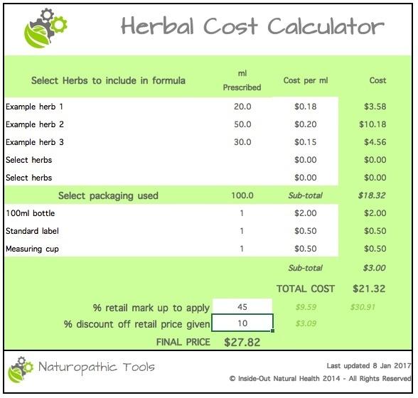 Herbal cost calculator