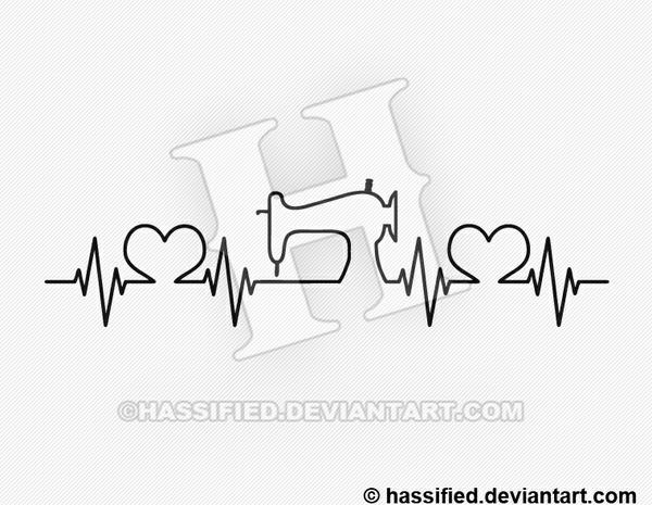 Sewist Heartbeat - printable, vector, svg, art