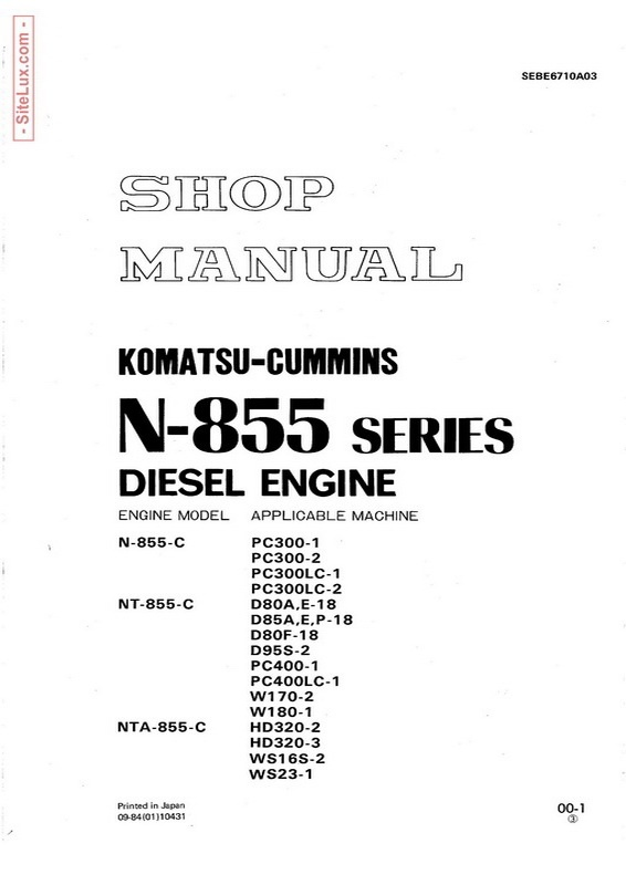 Komatsu Cummins N-855 Series Diesel Engine Shop Manual - SEBE6710A03