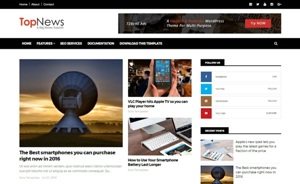 Top News Blogger Template Premium Version