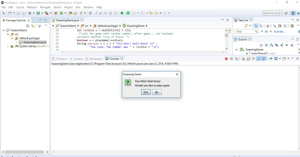 COP 2800 (Java Programming) Project #3  Guessing Game