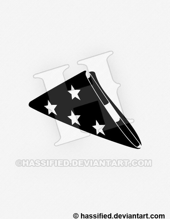 Folded American Flag Silhouette - printable, vector, svg, art
