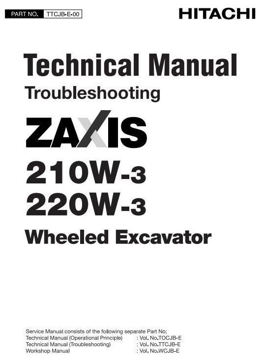 Hitachi Wheeled Hydraulic Excavator Type 210W-3, 220W-3 Workshop Service Manual
