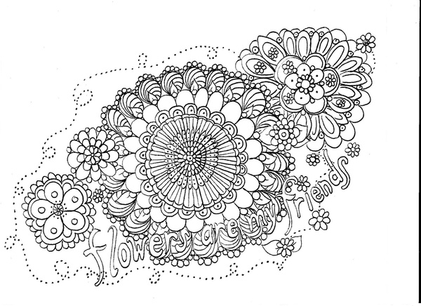 Flowers Are My Friends Coloring Page