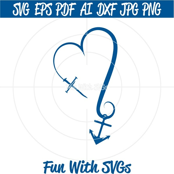 Cross Heart Anchor SVG Cut File, High Resolution Printable Graphics and Editable Vector Art