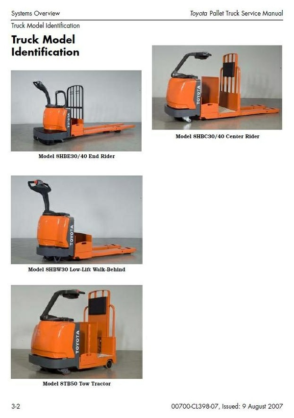 Toyota Pallet Truck 8 Series: 8HBC30, 8HBC40, 8HBE30, 8HBE40,  8HBW30, 8TB50 Workshop Manual