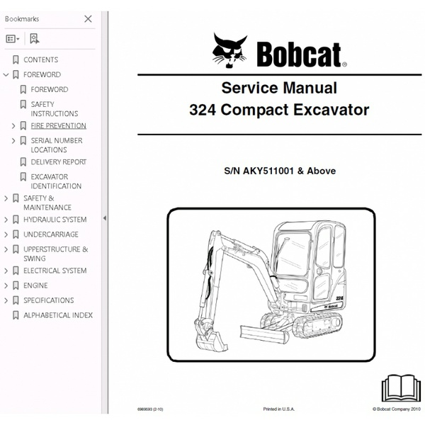 Bobcat 324 Excavator Service Repair Manual PDF S/N AKY5 11001 and Above