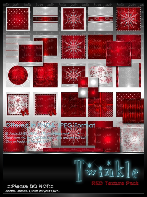 Twinkle:  RED Texture Pack-- $6.00