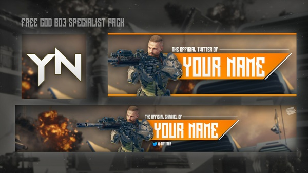 FREE COD BO3 YOUTUBE BANNER, LOGO AND TWITTER HEADER PACK
