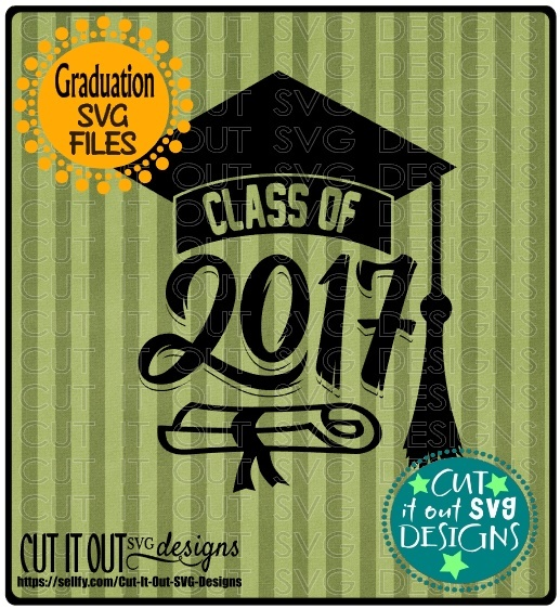 Class of 2017 Graduation SVG layered Cutting File Diploma Cap for vinyl, htv, sublimation