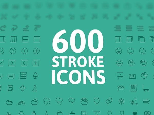 600 Stroke Icons