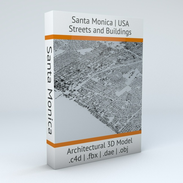 Santa Monica Streets and Buildings Architectural 3D Model