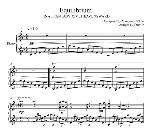 Equilibrium(FFXIV Sophia Theme) for piano solo(Arr.by Terry:D)