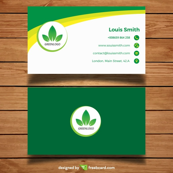 Green corporate business card template