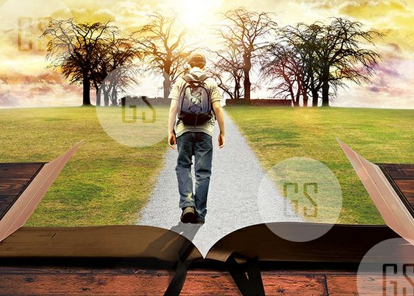 Man Walking on Path Leading Through Bible-4A
