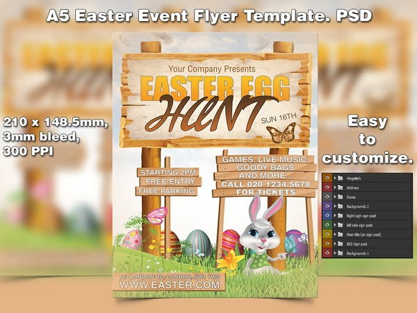 Easter Egg Hunt Flyer Template (PSD)