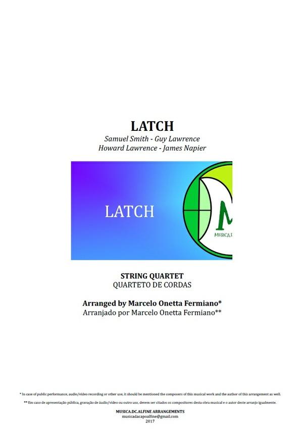 Latch   Acoustic   Sam Smith   Quarteto de Cordas   Partitura Completa