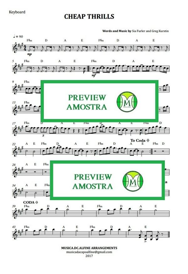 Cheap Thrills - Sia - Keyboard or Violin - Sheet Music