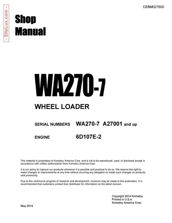 Komatsu WA270-7 Wheel Loader Shop Manual - CEBM027600