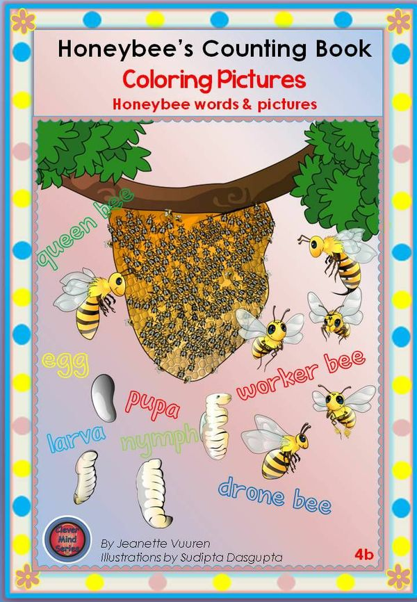 COLORING PICTURES: HONEYBEES & SMALL COLORING BOOKLET: 4b&4c