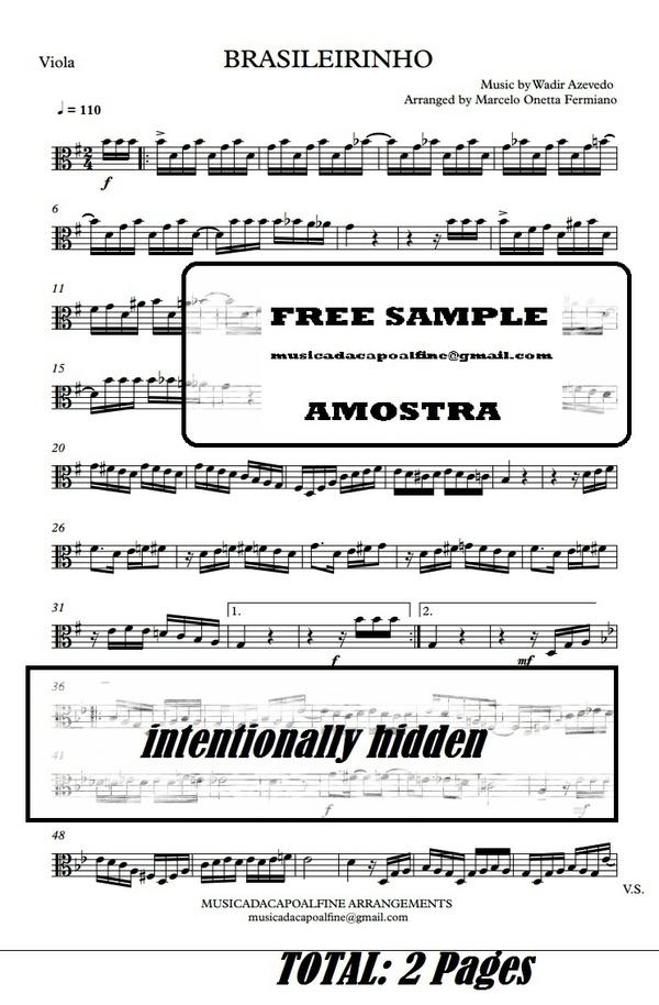 Brasileirinho - Waldir Azevedo - Viola - Sheet Music Partitura PDF