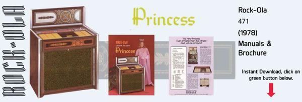 """Rock-Ola 471  """"Princess""""  (1978)   Manual & Brochure"""