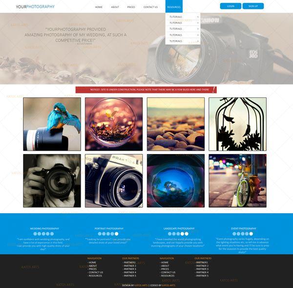 Photography website PSD