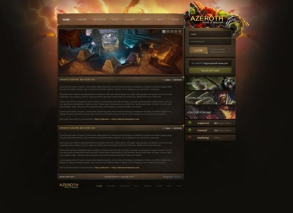 Azeroth MMO Webdesign