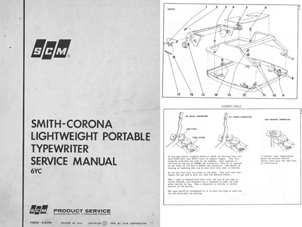 Smith-Corona 6YC Series Portable Typewriter Repair Adjustment Service Manual