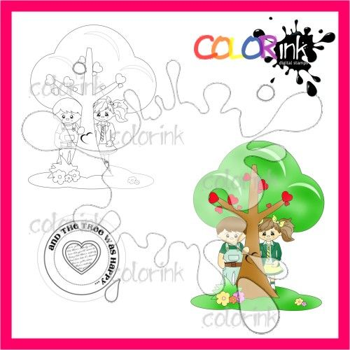 Our love our tree and sentiment Digi stamp