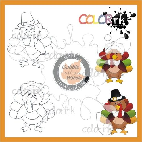 Gobble and sentiment Digi stamp