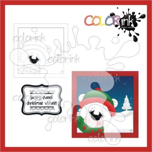 Bear Frame and sentiment Digi stamp