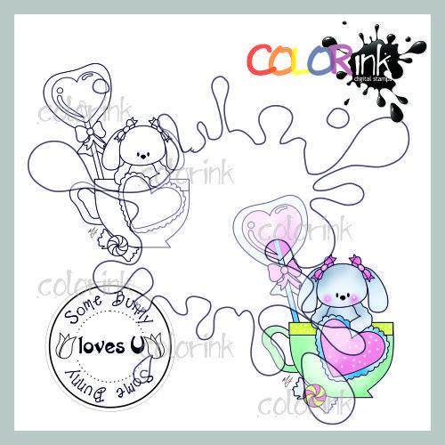 Lollipop cup bunny and sentiment Digi stamp