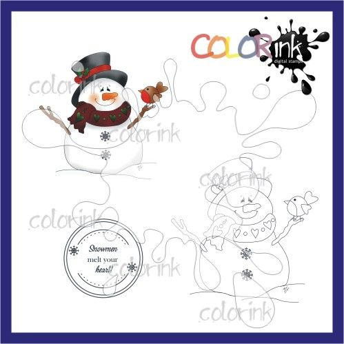 Snowman with robin and sentiment