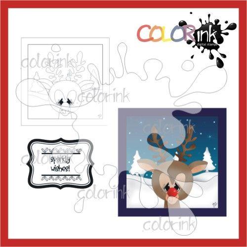 Rudolph Frame and sentiment Digi stamp