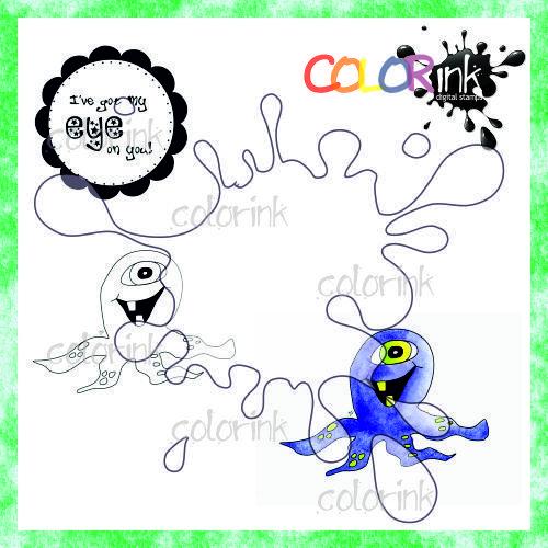 Happy alien and sentiment Digi stamp
