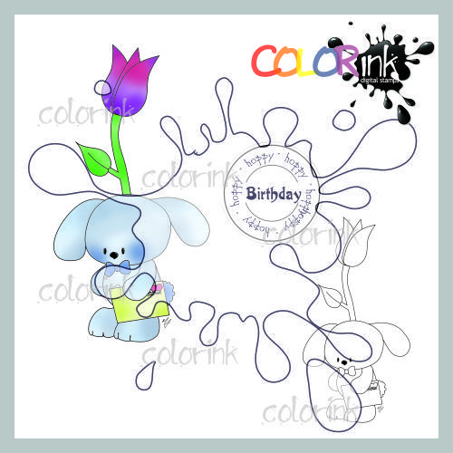 Flower boy bunny and sentiment Digi stamp